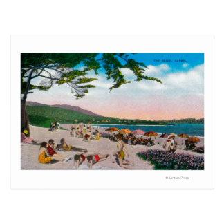 La escena de la playa en Carmel, California Postales