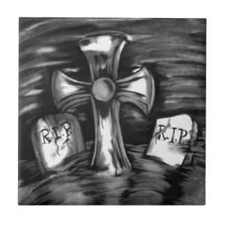 La escena del cementerio azulejo cerámica