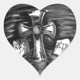 La escena del cementerio calcomanías corazones