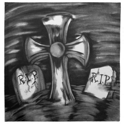 La escena del cementerio servilletas imprimidas