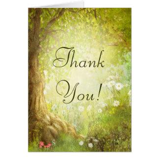 La escena encantada del bosque le agradece felicitación