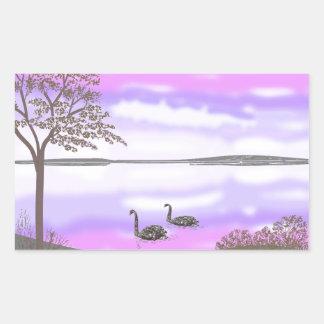 La escena hermosa de la puesta del sol del lago de pegatina rectangular