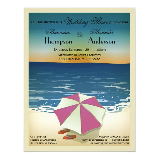 La escena inspirada postal retra de la playa invit invitacion personalizada