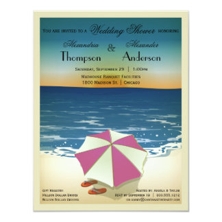 La escena inspirada postal retra de la playa invitación 10,8 x 13,9 cm