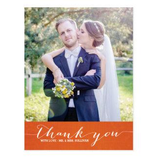 La escritura anaranjada del lino el | le agradece postal