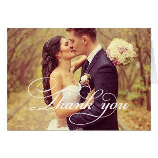 La escritura de la foto el   del boda le agradece tarjeta pequeña