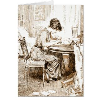 La escritura de la mujer pone letras a 1911 tarjetón