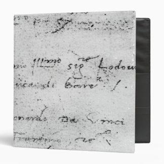 """La escritura de Leonardo da Vinci Carpeta 1 1/2"""""""