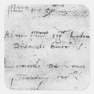 La escritura de Leonardo da Vinci Pegatina Cuadrada