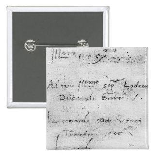 La escritura de Leonardo da Vinci Pin Cuadrada 5 Cm