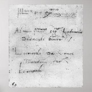 La escritura de Leonardo da Vinci Póster
