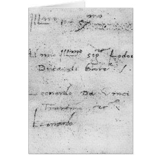 La escritura de Leonardo da Vinci Tarjeta De Felicitación