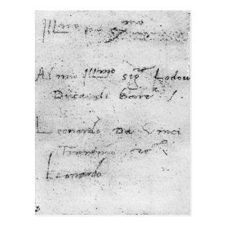 La escritura de Leonardo da Vinci Postal