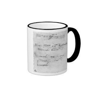 La escritura de Leonardo da Vinci Taza