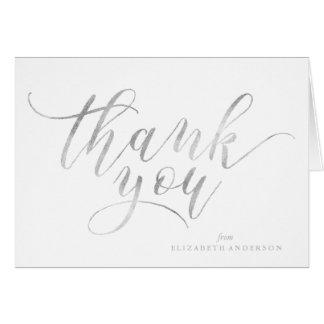 La escritura de plata elegante le agradece tarjeta pequeña