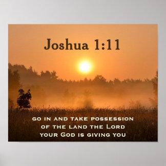 La escritura del 1:11 de Joshua toma la posesión Póster