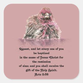 La escritura del bautismo actúa pájaro mojado pegatina cuadrada