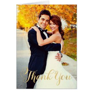 La escritura del oro de la foto el   del boda le tarjeta pequeña