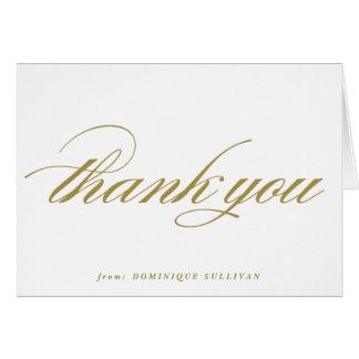 La escritura elegante del oro personalizada le tarjeta de felicitación