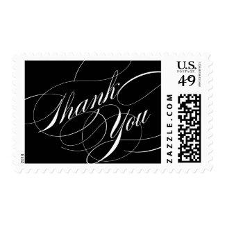 La escritura elegante le agradece franqueo sello postal