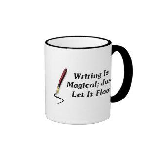 La escritura es mágica; Apenas déjela fluir Tazas
