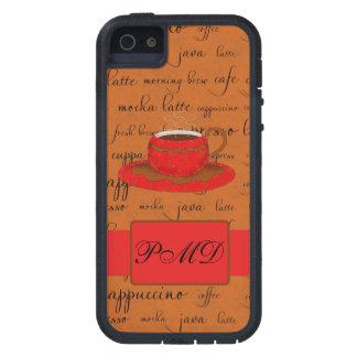 La escritura rojo marrón del arte de la taza de iPhone 5 fundas