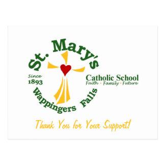 La escuela católica de St Mary le agradece postal
