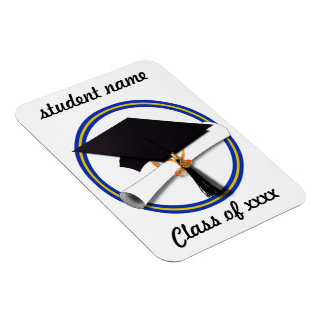 La escuela colorea el casquillo w/Diploma del grad Imanes