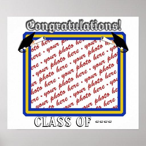 La escuela colorea el oro y el marco azul de la fo posters