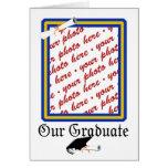 La escuela colorea el oro y el marco azul de la tarjeta de felicitación