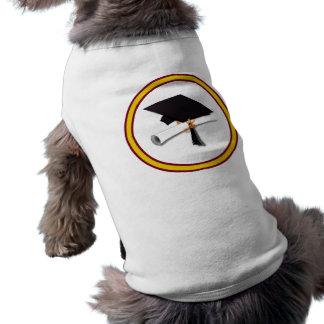 La escuela colorea el oro y el rojo para el gradua camisa de perrito