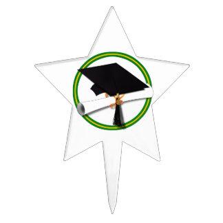 La escuela colorea el verde y el casquillo decoraciones para tartas
