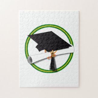 La escuela colorea el verde y el casquillo rompecabeza con fotos