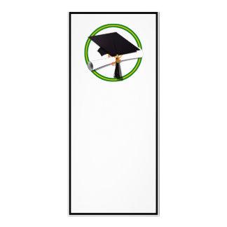 La escuela colorea el verde y el casquillo diseño de tarjeta publicitaria