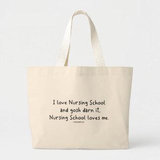La escuela de enfermería me ama bolsa tela grande