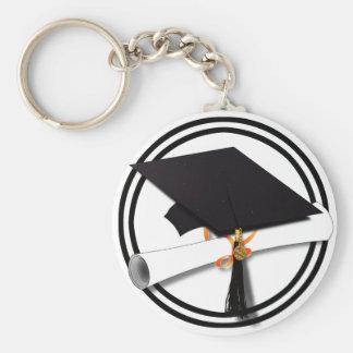 La escuela de la graduación colorea blanco y negro llavero redondo tipo pin