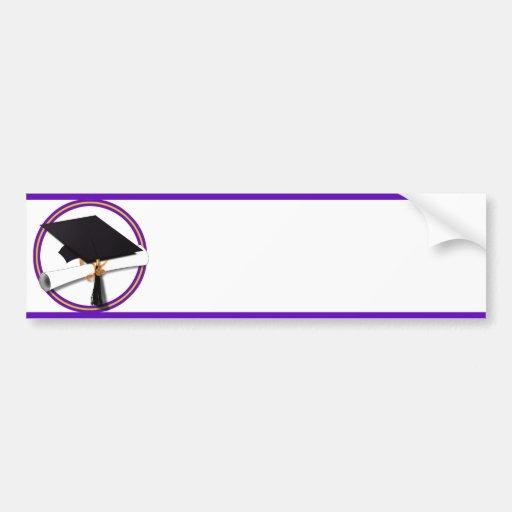 La escuela de la graduación colorea púrpura y el pegatina para coche