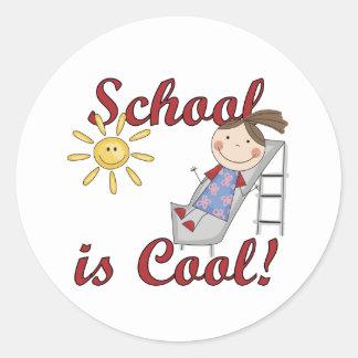 La escuela del chica es camisetas y regalos pegatina redonda