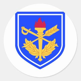 la escuela del general del fiscal militar pegatina redonda