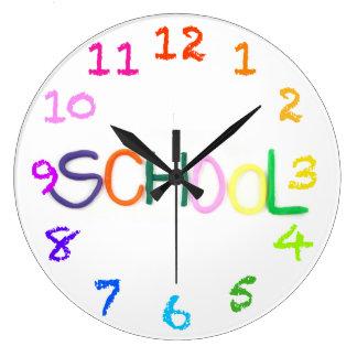 La escuela en arcilla con tiza numera el reloj de