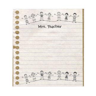 La escuela linda embroma la libreta del profesor bloc de notas