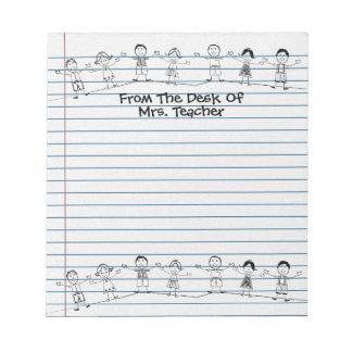 La escuela linda embroma la libreta del profesor bloc de papel