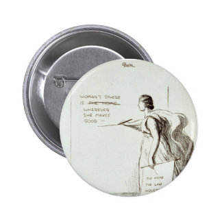 La esfera de las mujeres revisada pin redondo de 2 pulgadas