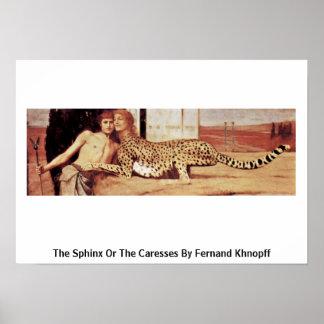 La esfinge o las caricias de Fernand Khnopff Poster