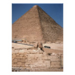 La esfinge y la gran pirámide en Giza Poster