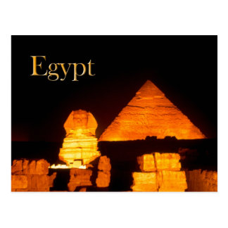La esfinge y la pirámide de Khafre en la noche Tarjetas Postales