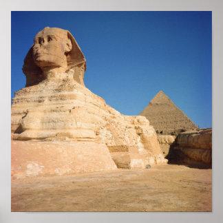 La esfinge y la pirámide de Khafre, Giza Póster