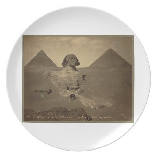 La esfinge y las pirámides en Egipto circa 1867 Plato De Cena