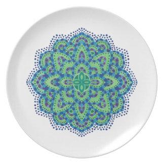 La esmeralda Mandala-Fresca Plato De Comida