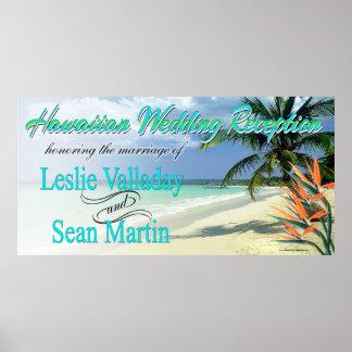 La esmeralda riega a la recepción nupcial hawaiana póster